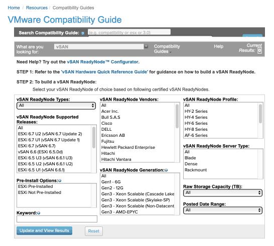 VMware compatibility guide for vSAN