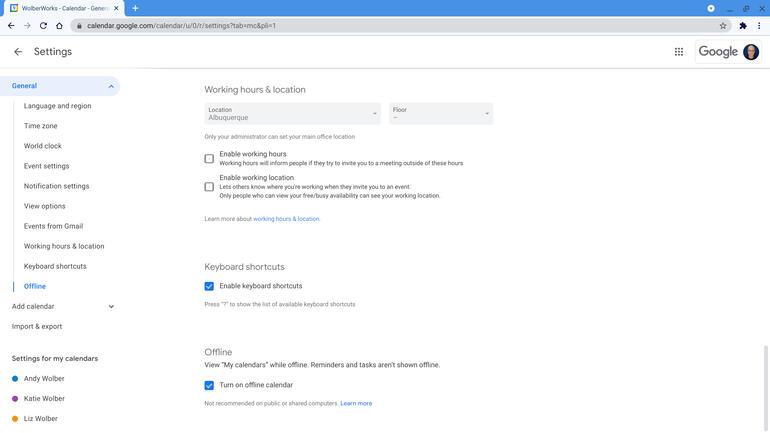 Screenshot of Google Calendar   Offline   Turn on offline calendar box selected.